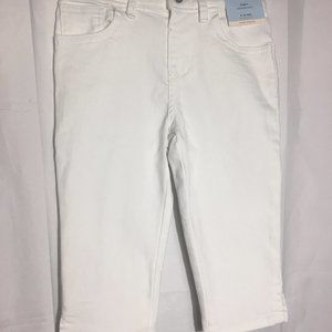 Little Girls White Jean Capri  6/6X